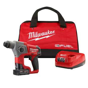 Milwaukee 2416-21XC M12 FUEL 4.0 Ah Cordless Lithium-Ion 5/8 in. SDS Plus Rotary Hammer Kit image number 0