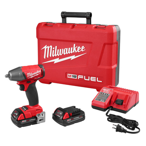 Factory Reconditioned Milwaukee 2754-82CT M18 FUEL 2.0 Ah Cordless Lithium-Ion 3/8 in. Compact Impact Wrench with Friction Ring Kit