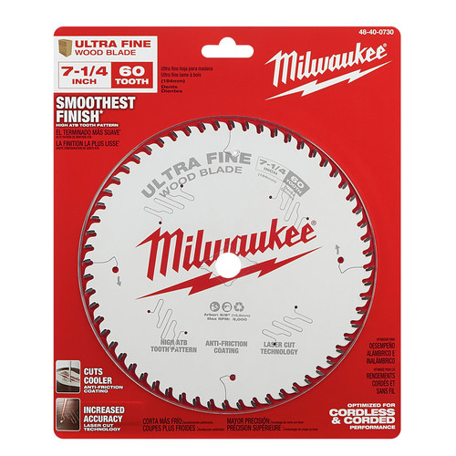 Milwaukee 48-40-0730 7-1/4 in. 60T Ultra Fine Finish Circular Saw Blade image number 1