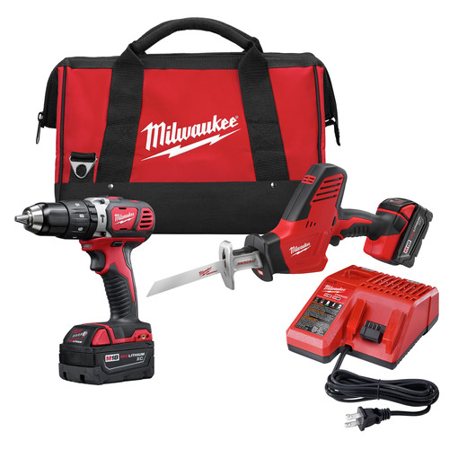 Milwaukee 2695-22 M18 Lithium-Ion 1/2 in. Hammer Drill and HACKZALL Recip Saw Combo Kit