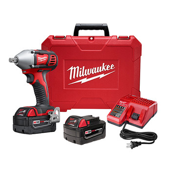 Milwaukee 2659-22 M18 Lithium-Ion 1/2 in. Impact Wrench Kit with Pin Detent image number 0