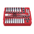 Milwaukee 9010-9013-BNDL 47-Piece SAE and Metric 1/2 in. Drive Ratchet and Socket Set with 1-Piece 1/2 in. Drive 24 in. Breaker Bar image number 3