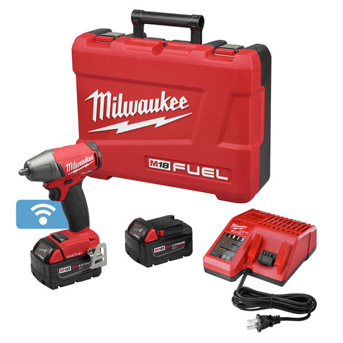 Milwaukee 2758-22 M18 FUEL 5.0 Ah Cordless Lithium-Ion 3/8 in. Compact Impact Wrench Kit with Friction Ring & ONE-KEY Connectivity image number 0