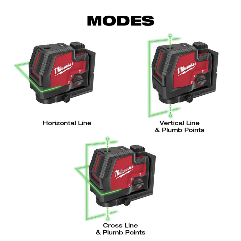 Three modes to suit any situation: Horizontal Line, Vertical Line & Plumb Points, and Cross Line & Plumb Points