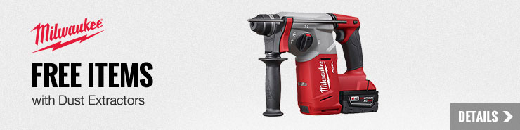 FREE Milwaukee Items with Dust Extractors