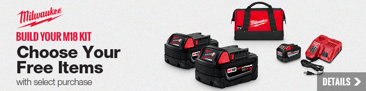 FREE contractor bag + item of choice when you order two qualifying Milwaukee M18 bare tools!